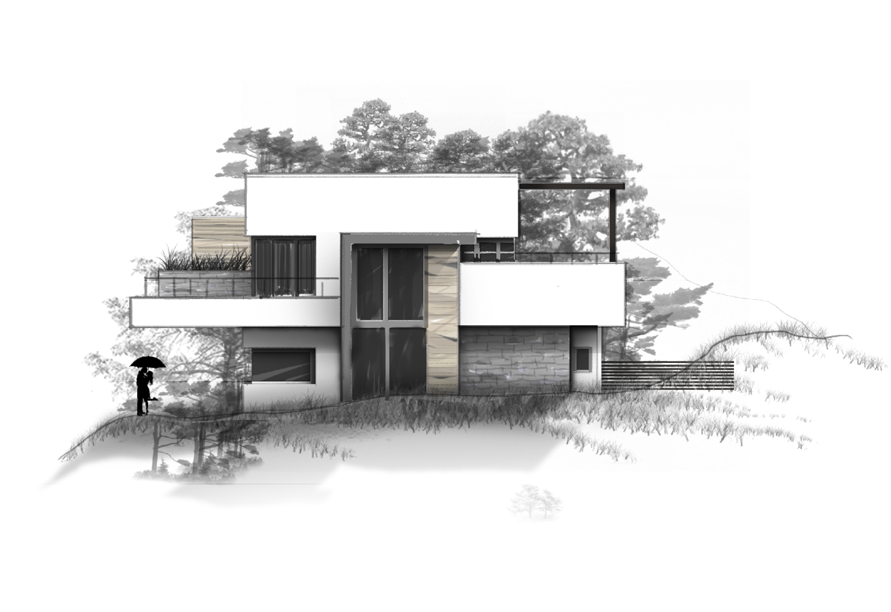 Ansicht Illustration Grafik Zeichnung bunt Immobilie Haus