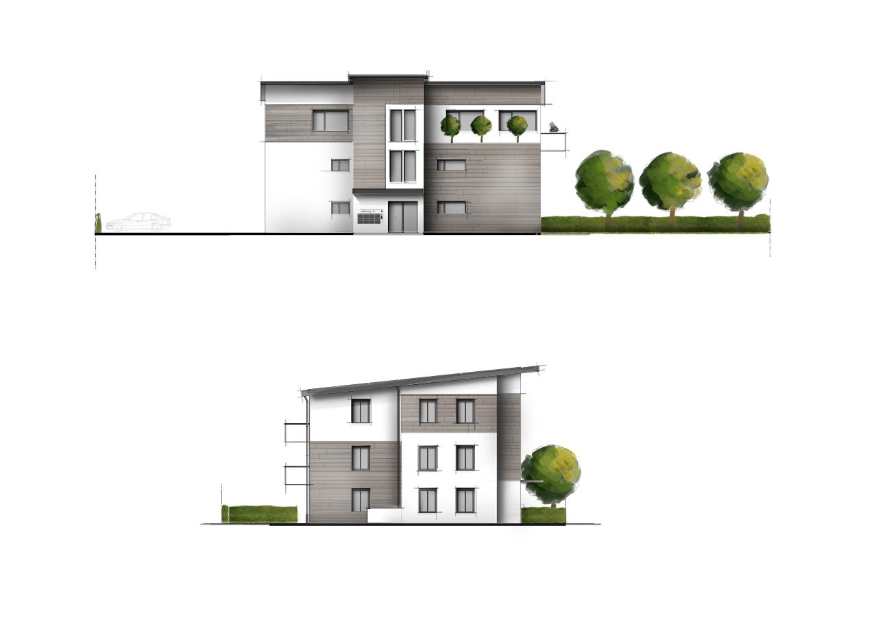 Haus kolorierte Ansicht Visualisierung farbig Grundriss-Manufaktur