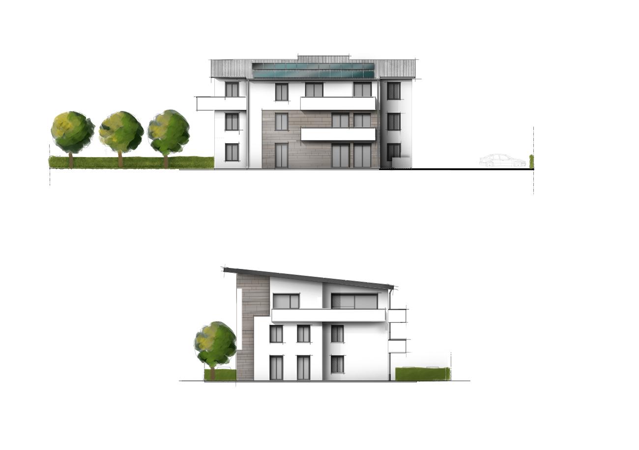 Haus kolorierte Ansicht Illustration zeichnen lassen Grundriss-Manufaktur
