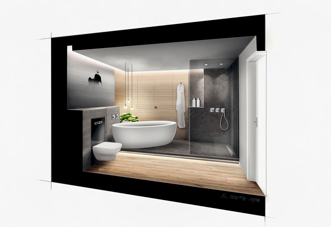 Kolorierte Perspektive Design Grundriss Makler Kunden Marketing Verkauf