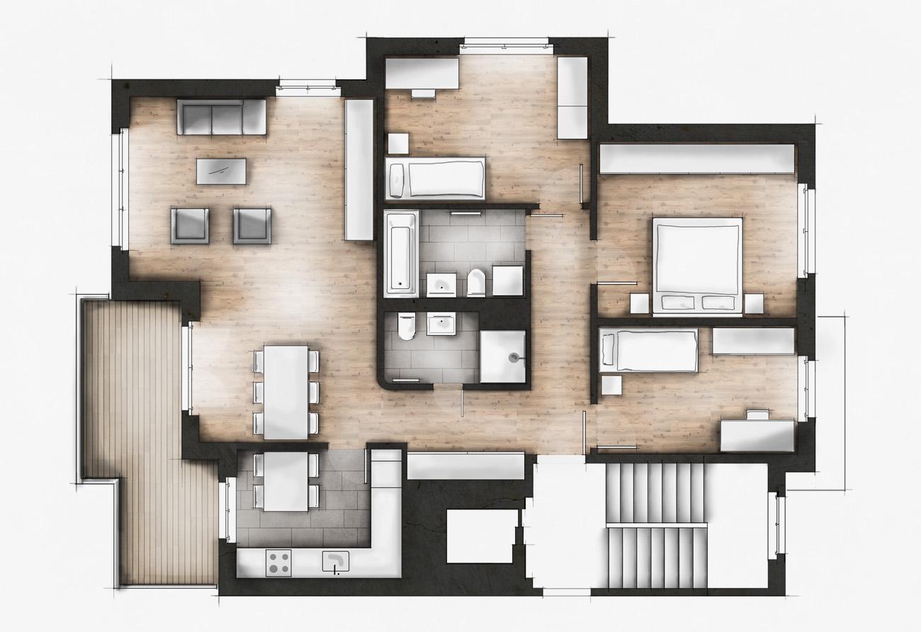 Plangrafik Immobilie zeichnen lassen farbig Makler Kunden