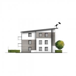 Kolorierte Ansicht Illustration Grafik Zeichnung bunt Immobilie Haus