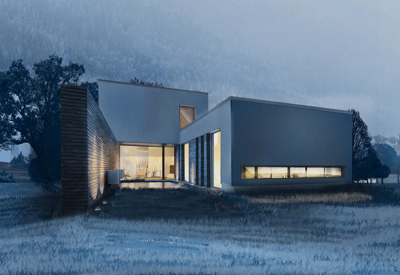 Kolorierte Perspektive Architektur Visualisierung Haus Villa Grundriss Manufaktur
