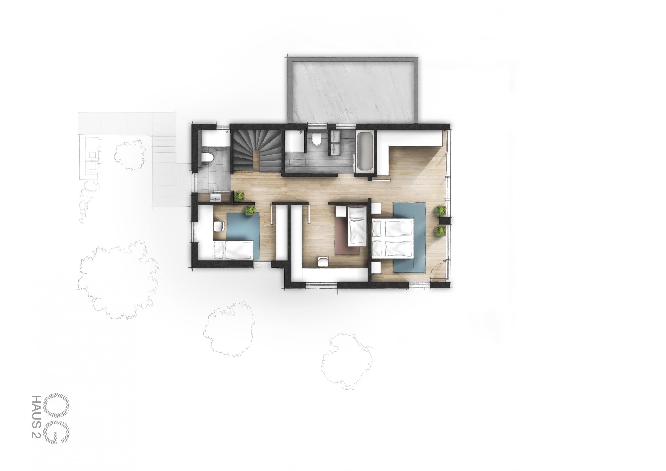 Kolorierter_Grundriss_zeichnen_lassen_Haus_Garten
